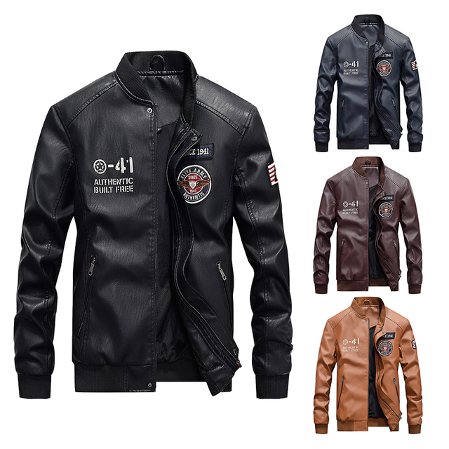 Men Baseball Jacket Embroidered Casual PU Leather Coats Winter Mens Slim Fit Warm Fleece Pilot Military Jackets Stand Collar