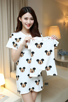Summer Cotton Cartoon Mother And Baby Family Matching Outfits Mom Mickey Donald Breast Feeding Dress Shirt
