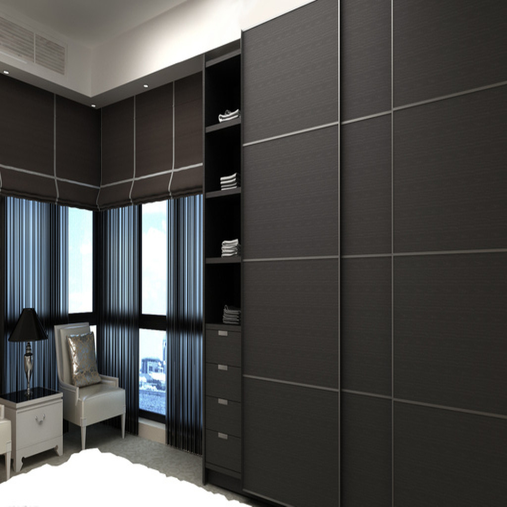 Customized modern melamine mdf wardrobe with 3 sliding for Bedroom cupboard designs and colours