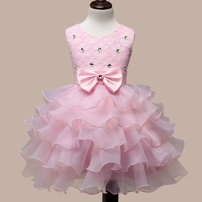 0-7 Years Girls Mutlti Layer Dresses White Pink Kids Wedding Dress Flower Girl Costume Vestido De Festa De Casamento Elegancy