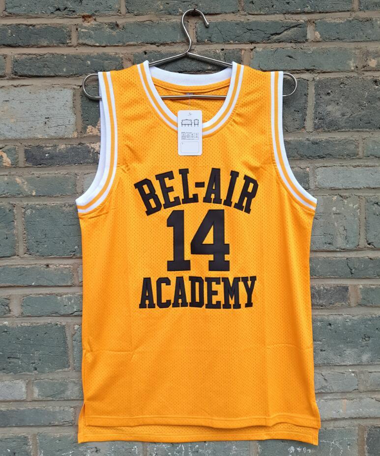 все цены на 2017 New LIANZEXIN Will Smith #14 Jersey Bel Air Academy Yellow The film version Basketball Jerseys Gold For Sale онлайн