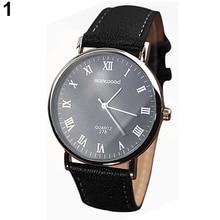 Hot Sales 2015 hot Men  Roman Numerals Faux Leather Band Quartz Analog Business Wrist Watch 4DAU 6T5M