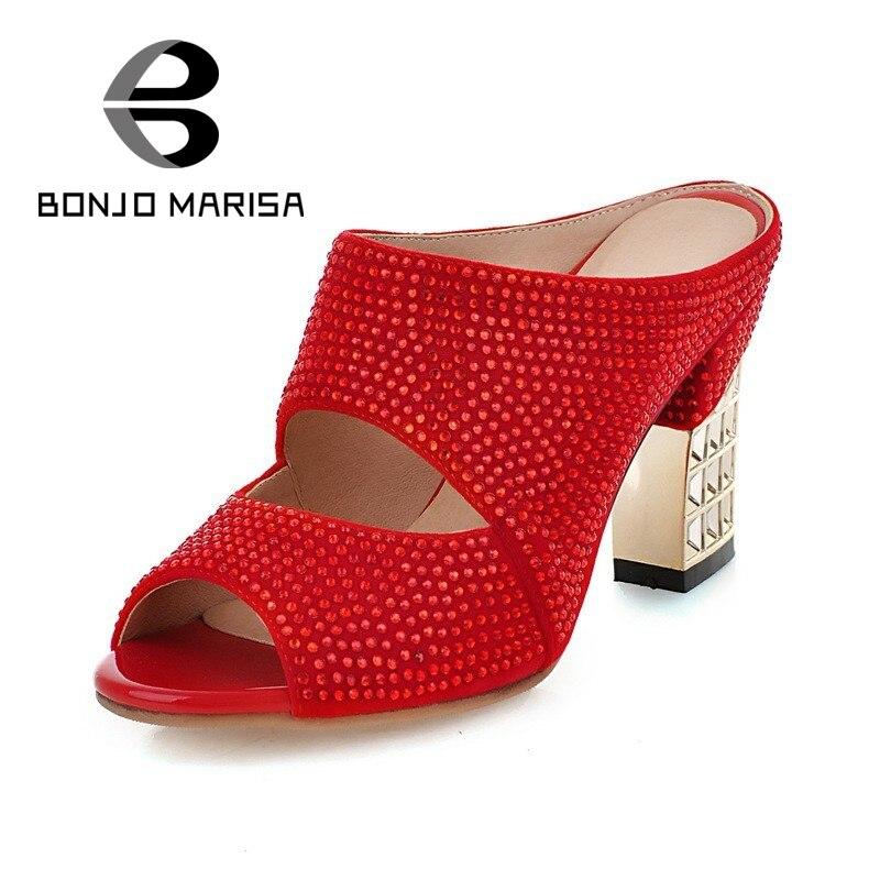 ФОТО Plus Size 34-43 Women Crystal Sandals Square High Heels Peep Toe Platform Silver Red Black Summer Woman Shoes BONJOMARISA