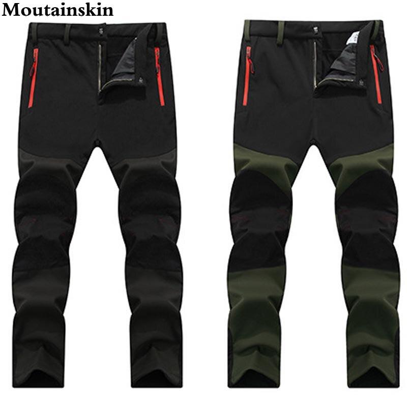 Prix pour 4XL 2017 hommes D'hiver Softshell Intérieure Polaire Pantalon Sports de Plein Air Étanche Ski Trekking Randonnée Camping Pantalons Masculins VA052