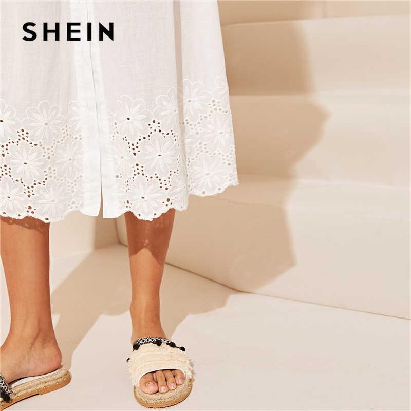 SHEIN Beyaz Işlemeli Kuşgözü Hem Düğme Up Yaz Boho Elbise Kadınlar Sapanlar İmparatorluğu Elbise Düz Fit ve Flare Uzun Cami elbiseler