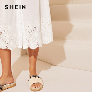 Image 5 - SHEIN White Embroidered Eyelet Hem Button Up Summer Boho Dress Women Straps Empire Dress Solid Fit and Flare Long Cami Dresses