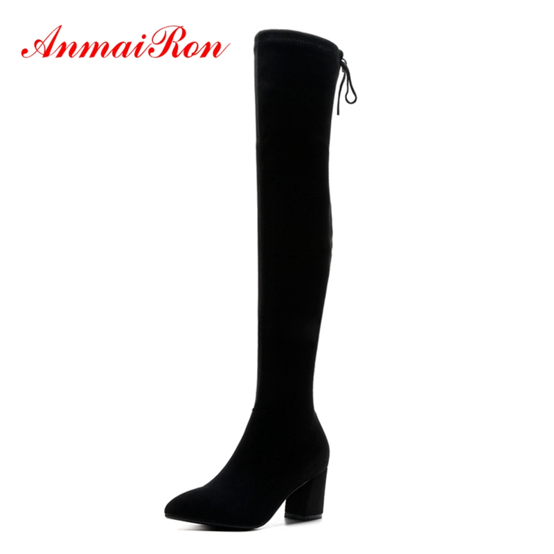 AnmaiRon  Thigh High Boots  Zapatos De Mujer  Women Boots  Over-the-Knee  Basic  Botas Mujer Size 34-43ZYL1469AnmaiRon  Thigh High Boots  Zapatos De Mujer  Women Boots  Over-the-Knee  Basic  Botas Mujer Size 34-43ZYL1469