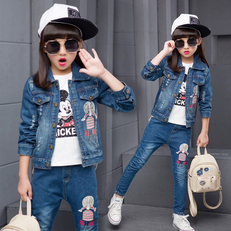 Autumn New Product Girl Cowboy Suit Small Plait Cartoon Cowboy Single Row Buckle Two Pieces Kids Clothing Sets autumn new pattern girl range child street wind cowboy salopettes cartoon t shirts suit 2 pieces kids clothing