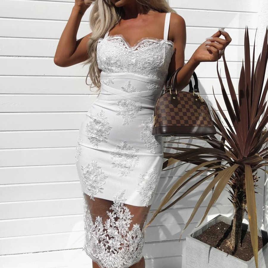 8548d9458ab New Summer Bandage Bodycon Dress 2018 Deep V Neck Lace Midi Halter Sexy  Sleeveless Club Party