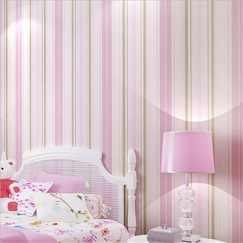 beibehang Modern Mediterranean Blue Pink Stripe Wall Paper Non woven Wallpaper Roll Decor Mural Creative Papel de Parede