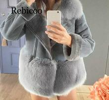 Gray Street Costume Faux Fur Teddy Jacket Women Autumn Patchwork Chic Winter Jacket China Suede Leather Women's Fur Jacket