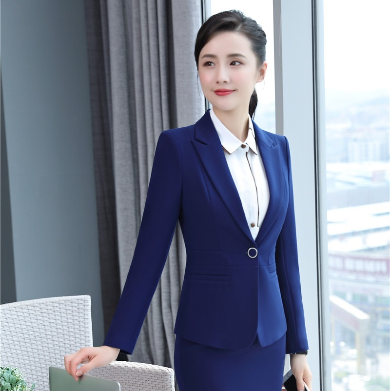 Autumn New Women Casual Work Wear Office Business Suits Formal Work Wear Sets Uniform Styles Elegant Pant Suits Black Blue L1358 Pant Suits
