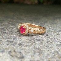 ANI 18 K Ouro Rosa (AU750) Mulheres Anel de noivado Certified Oval Cut Rubi Natural Anel de Diamante Moda para Mulheres Presente Do Aniversário