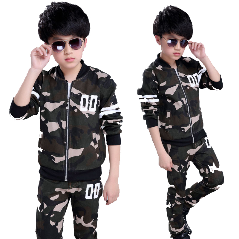 Boy Tracksuits 5-14 Years Boys Camouflage Clothing Sets Children Spring Autumn Jacket+Pants 2 Pcs Sports Suits Teens Clothes pair of rivet faux gem water drop earrings