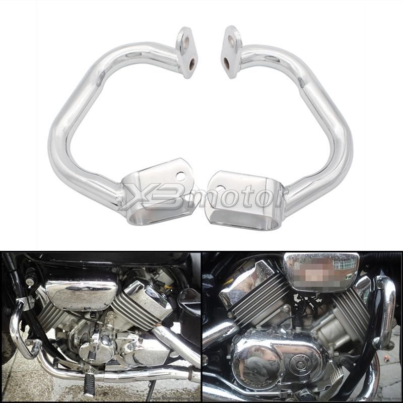 Motorcycle Chrome Crash Bars Engine Guard Rail Motor Fence Bumper Front Side Protector For Honda Magna