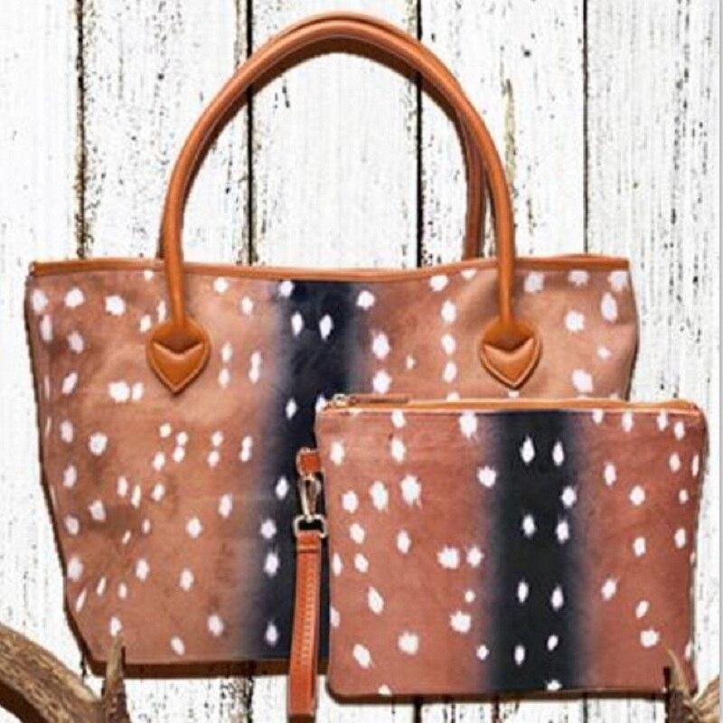Sac à main en daim Axis et sac de poignet sac fourre-tout imprimé cerf avec sac de coupe assorti livraison gratuite DOM684