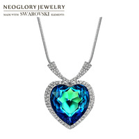 Neoglory MADE WITH SWAROVSKI ELEMENTS Crystal Zircon Long Charm Pendant Necklace Classic Love Heart Design For