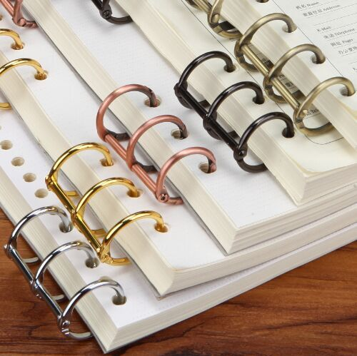 3 Hole Rings , Paper Collection Clips,Metal Paper Clip. DIY Notebook Metal Clips Gold Silver Black Bronze