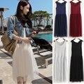 Mulheres coreanas gaze sem mangas vest dress lace dress tamanho princesa solta bottoming dress