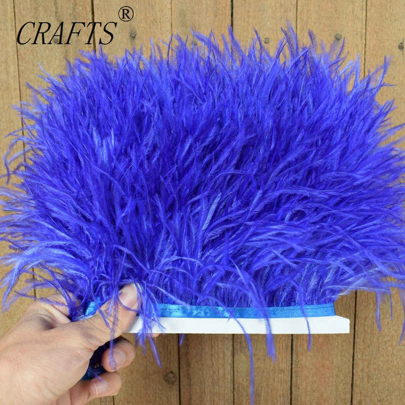 High quality fluffy ostrich feather trimming cloth sideband 5M 10M long DIY clothing accessories decorative accessories 8-11cm