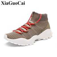 New Fashion High Top Casual Shoes Men Lace Up Sneakers Spring Breathable Elastic Socks Shoes High