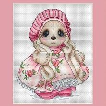 Needlework,DIY Cross Stitch,Sets For Embroidery kits,14CT ,Powder skirt rabbit