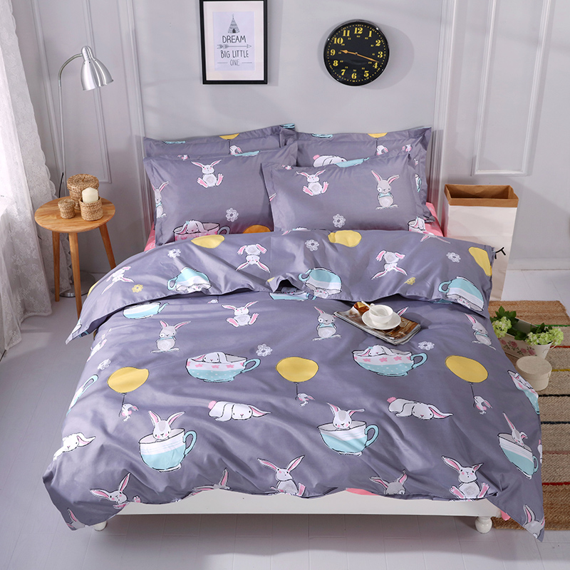 Cute Rabbit in Cup Print Duvet Cover Kids Bed Cover Queen Size Cute Rabbit IN Cup Child Home Bedding Bedlinen Sheet Sets Twin