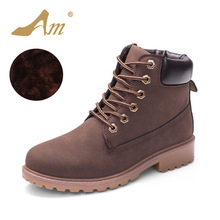 AME Autumn Winter Women Ankle Martin Boots with Fur New Fashion Woman Snow Boots for Girls Ladies Work Shoes Plus Size 36-41