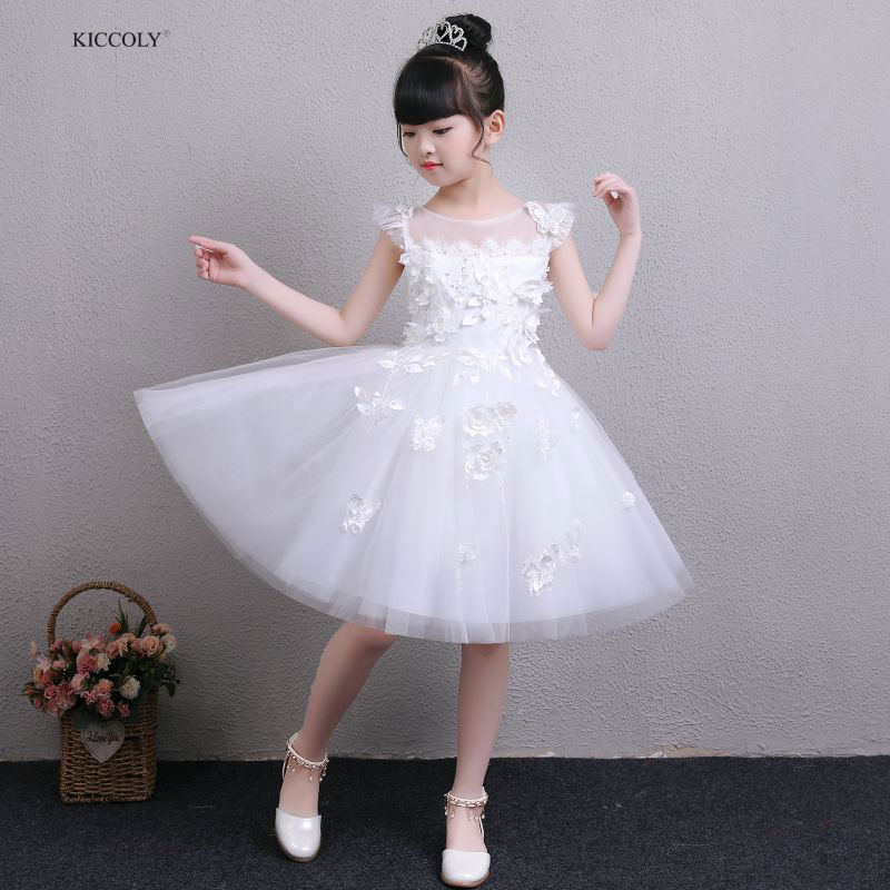 KICCOLY 2018 Baby Girl Applique Lace Princess Dress for White Wedding Party Kids Dresses For Toddler Girl Gown 1-14Y