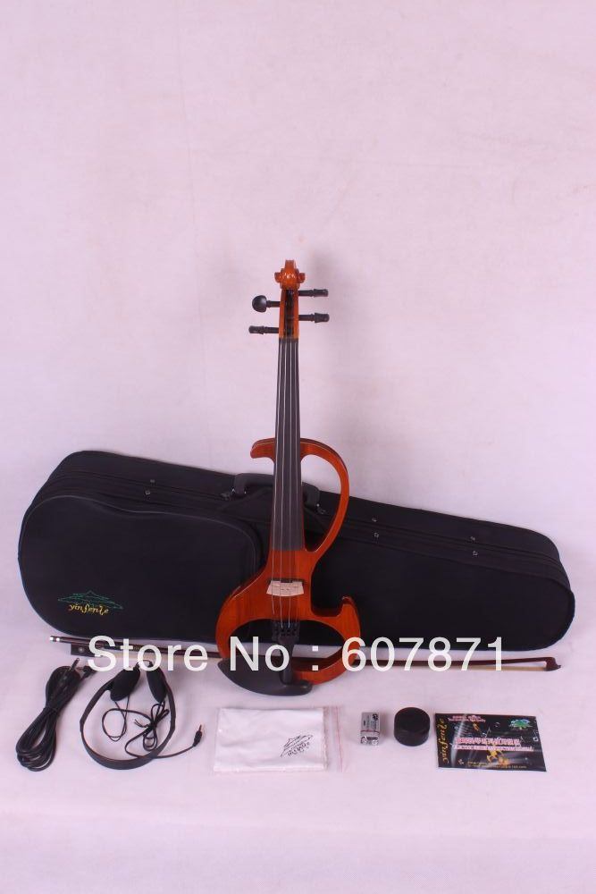 New 4/4 Electric Violin Silent Pickup orange Color tone #6-6 4 strings handmade new solid maple wood brown acoustic violin violino 4 4 electric violin case bow included