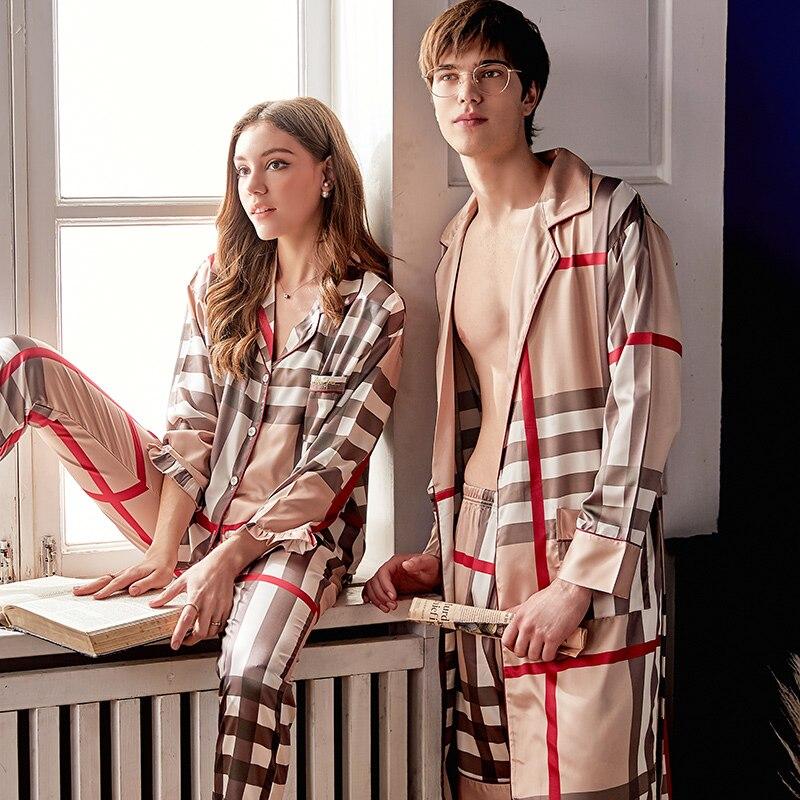 100% Wahr Silk Robe Sets Männlichen Hohe Qualität Faux Seide Nachtwäsche Paar Mann Frau Plaid Stil Seidige Bademäntel Shorts Sets X99570 Kunden Zuerst