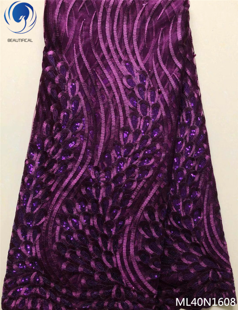 BEAUTIFICAL purple lace fabric with sequins wholesale french lace fabrics african lace fabric free shipping for dress ML40N16BEAUTIFICAL purple lace fabric with sequins wholesale french lace fabrics african lace fabric free shipping for dress ML40N16