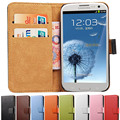 Estojo carteira de couro autêntico com suporte para Samsung Galaxy S3 I9300 SIII aleta estilo com 2 suportes para cartão estilo