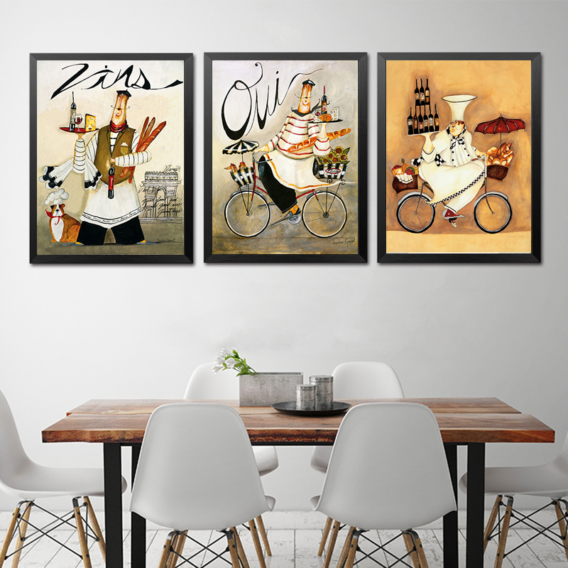 Cartoon Anime Restaurant Painting Bakery Cook Poster Kitchen Wall Art Print Picture Coffee House Canvas Home Decoration No Frame