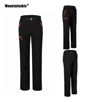 цена на Mountainskin Women's Softshell Fleece Pants Winter Outdoor Hiking Trekking Camping Climbing Skiing Female Thermal Trousers VB096
