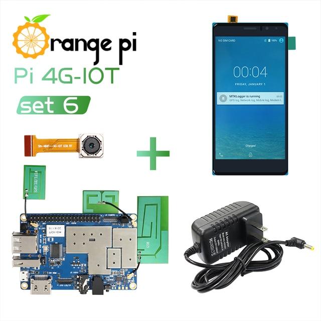 Orange Pi 4G IOT Set6: orange Pi 4G IOT + 5,5 inch Schwarz Farbe TFT LCD Touch Screen + 4G Kamera + Netzteil
