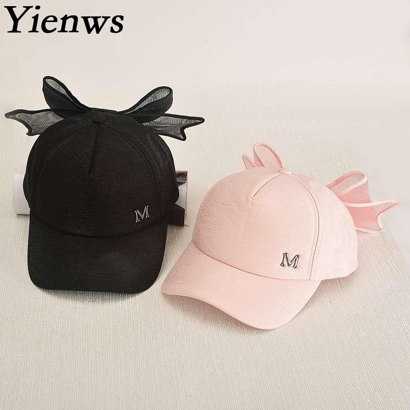 bbbd914e8386d Yienws Pink Full Cap Hat Baseball For Women Designer Leisure M Bow Baseball  Cap Femme Bone Cap Girl YIC027-in Baseball Caps from Apparel Accessories on  ...