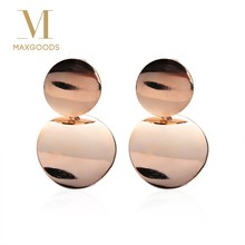 2018 Gold Silver Color Statement Geometric Circle Metal Pendientes Earrings for Women Fashion Drop Earring Brincos(China)