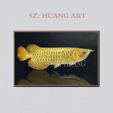 Artist Hand-painted Rich Fish  Yellow Arowana Oil Painting Beautiful Golden Dragon for Wall Decoration