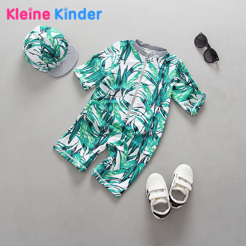 UPF50+ Toddler Boys Swimsuit Ins Fashion Style Bamboo Trees Print Baby Boy Swimwear Swimming Suit One Piece Bathing Suit 0-7T toddler boys swimwear infant baby boy swimsuit shark print long sleeves rash guards beachwear swimming outfits sun block upf50
