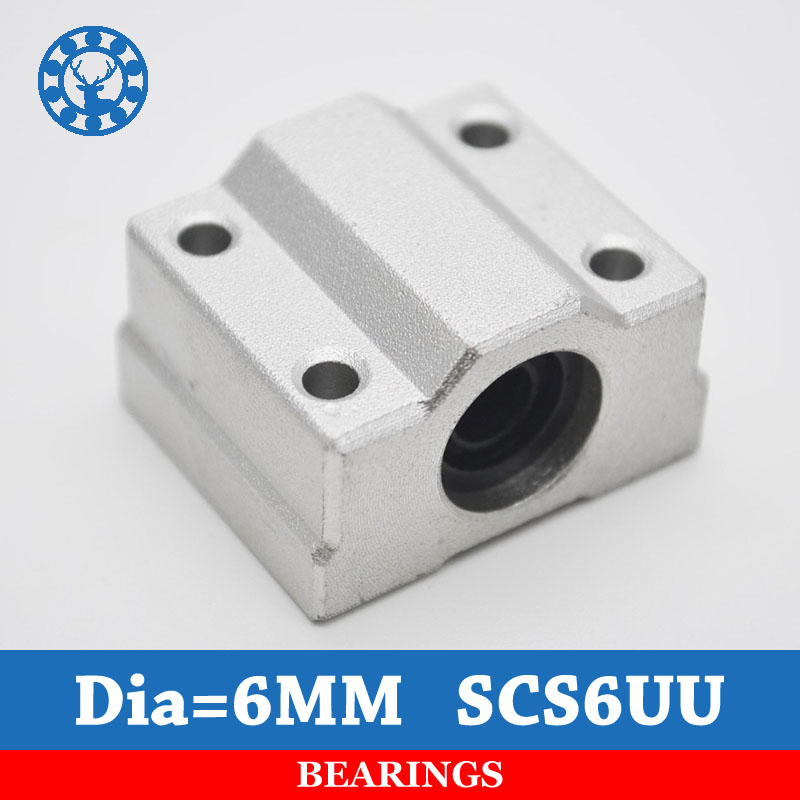 10pcs/lot SC6UU SCS6UU 6mm Linear ball bearing block with LM6UU bush, pillow block linear unit for CNC part-in Shafts from Home Improvement    1