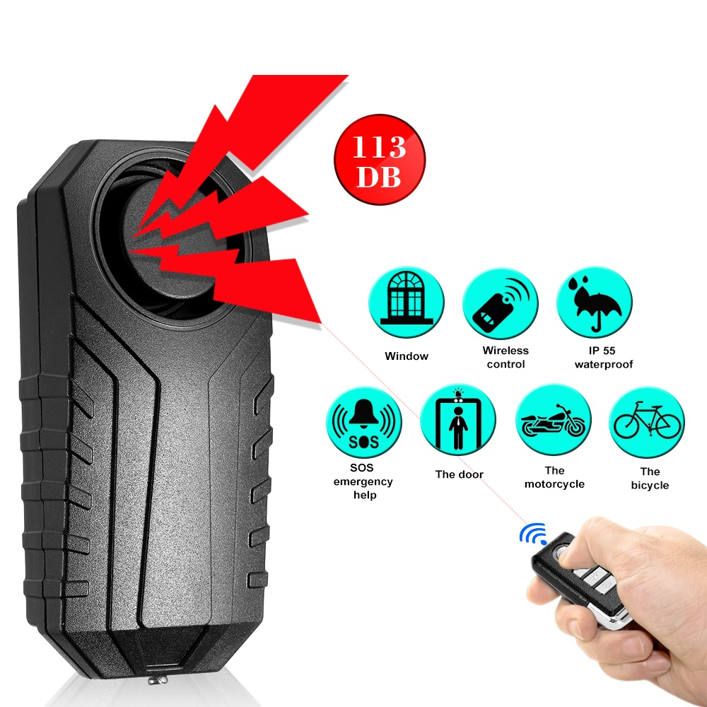 113dB Wireless Remote Control Alarm Bicycle/Electric Tricycle/ New Energy Car Vibration&Displacemnt Alarm Safety Lock+Lock Rope