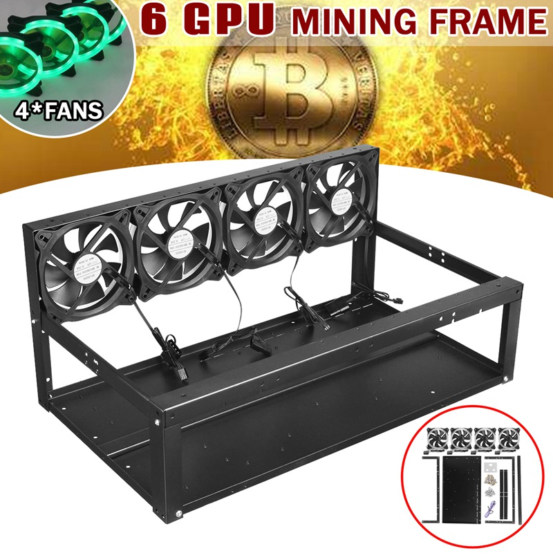 Leory 6 GPU Mining Frame Iron Case With 4 x Green Lights Fans 6 x GPU Slots For Open Air Mining ETH Ethereum Computer