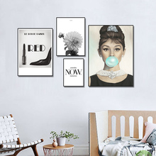 Audrey Hepburn Bubbles Wall Art Canvas Fashion Poster Black White Lipstick Leaf Prints Painting Picture Modern Room Decoration