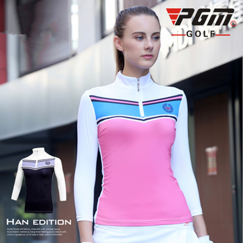 Golf clothes Women ice 7 sleeves clothing can be equipped with skirt suit zipper stand collar