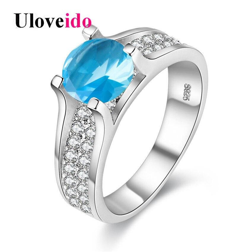 Uloveido das Mulheres Anéis com Pedra Azul Anéis para As Mulheres Grande  Venda Bijoux Anel Cubic Zirconia 2017 Brincos de Prata Jóias Y006 3981dda420