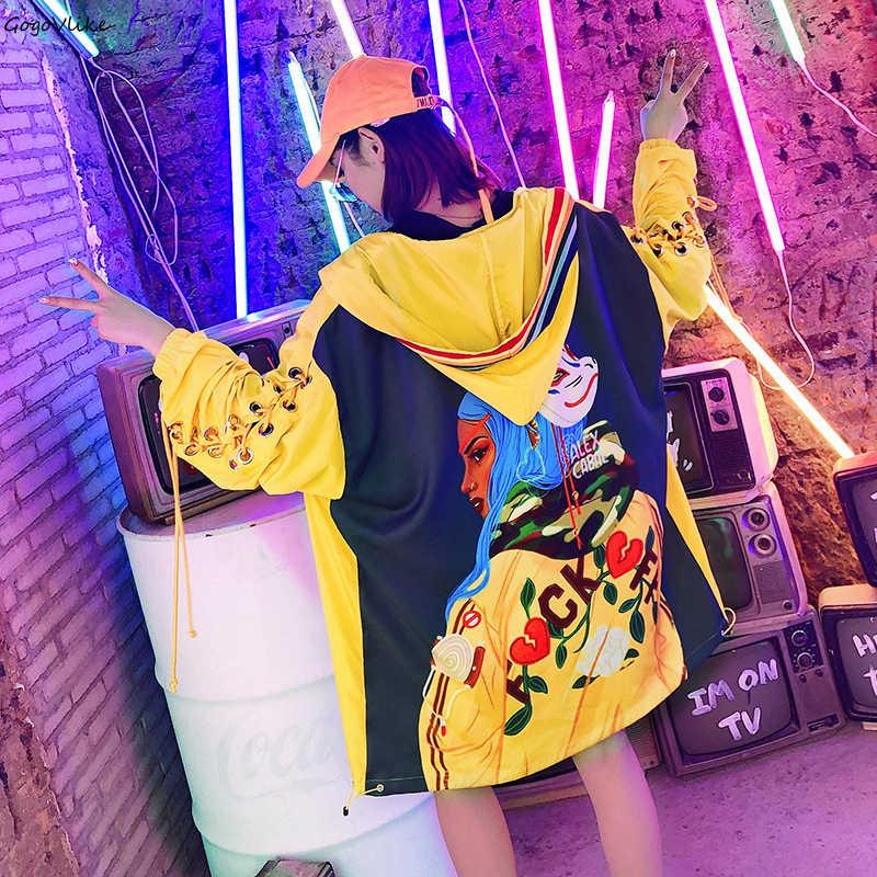 Rendas até bordados trench coat para mulheres 2019 primavera mulher carta bolso solto harajuku amarelo com capuz blusão lt409s50