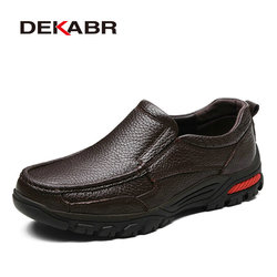 DEKABR Fashion Comfortable Breathable Soft Genuine Leather Loafers Shoes Men High Quality Casual Falts Men Oxfords Size 38-48