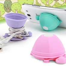 Lovely Little Silicone Tortoise spade line cord Cable winder earphone organizer + phone stand holider with Sucker