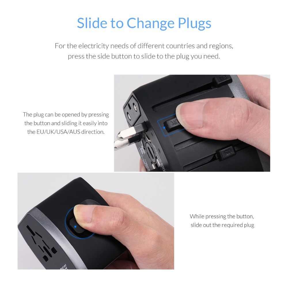 ORICO adapter podróżny gniazdo elektryczne wtyczka EU/US/UK/AU uniwersalny zasilacz z 4 portami USB ładowarka 5V3. 4A
